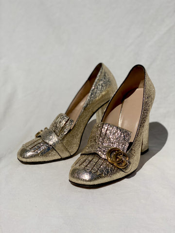 Gucci Gold Metallic Pumps - 40.5