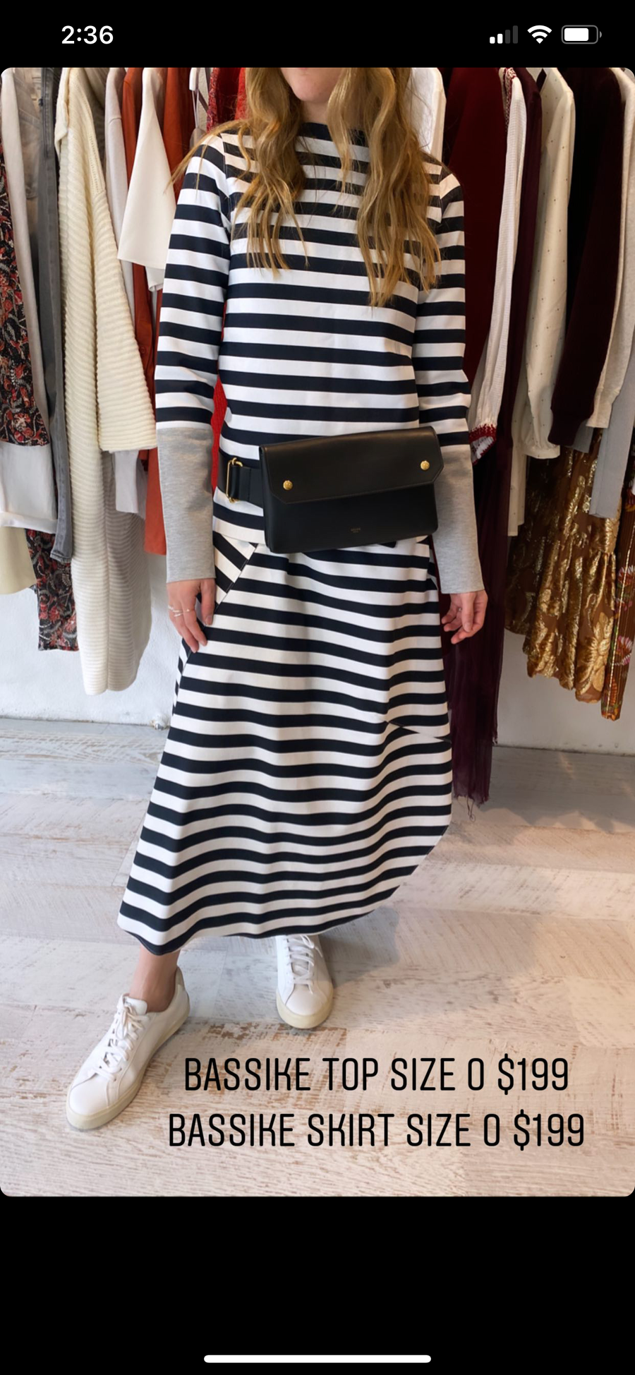 Bassike stripe top and skirt