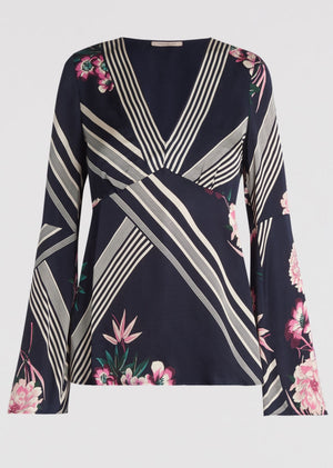 Printed satin blouse