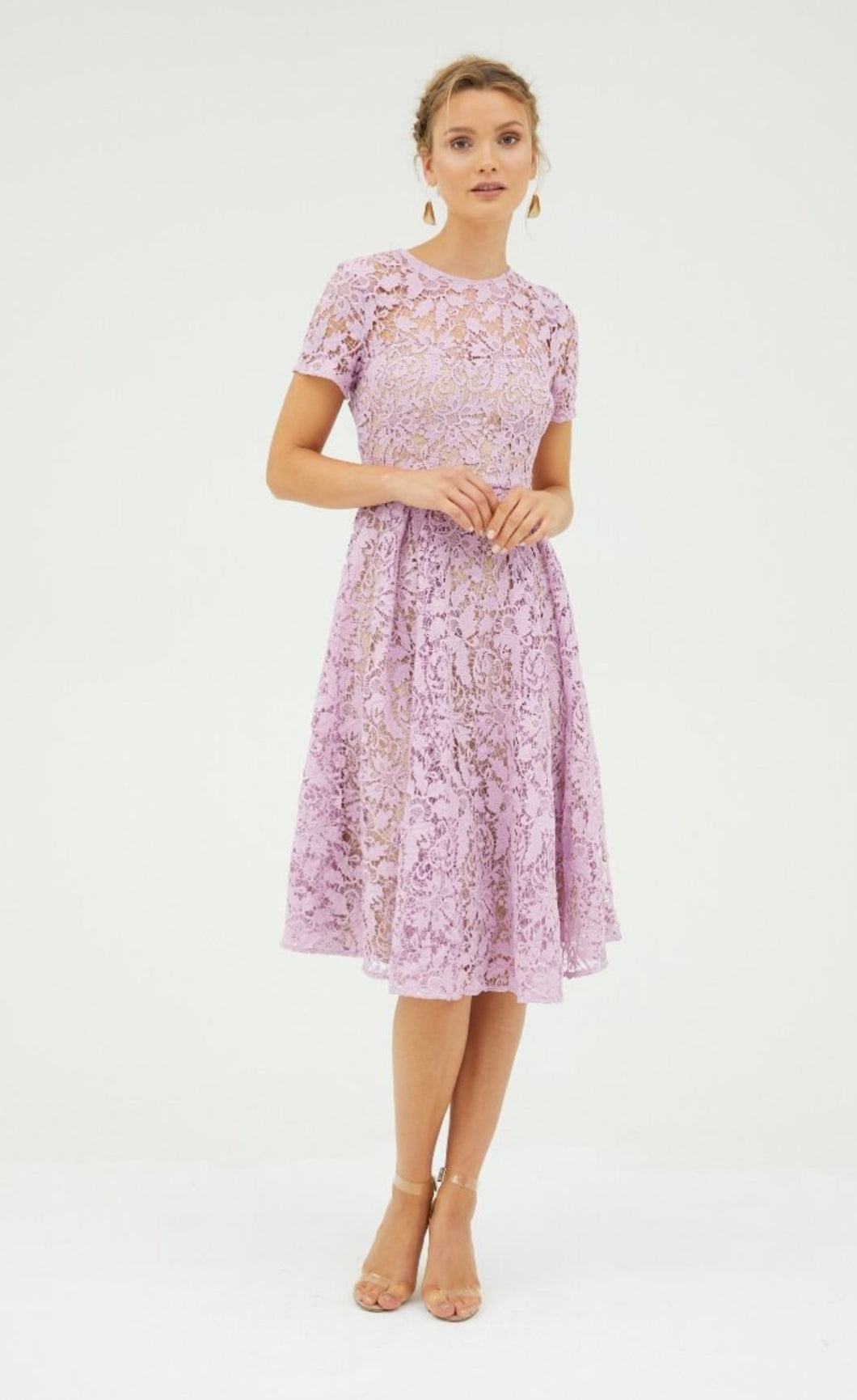 SNAPDRAGON FIT AND FLARE LACE DRESS - FLOSS