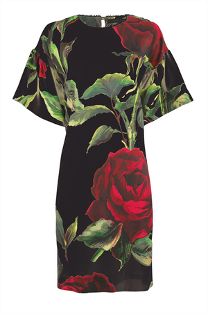 THE SHOW ROSE ON TUNIC DRESS