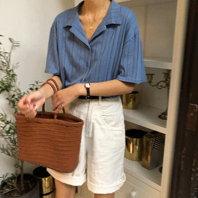Elegant Striped Shirt - Blue / One Size