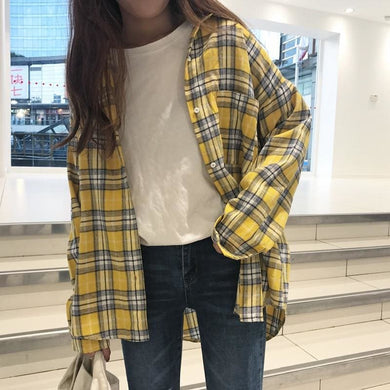 Yellow Plaid Pocket Loose Shirt