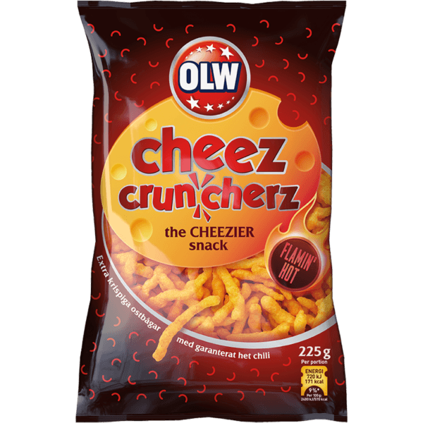 Cheez Crunchers Flamin' Hot Snacks OLW