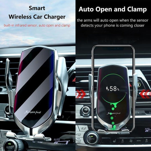 Automatic Clamping Wireless Charger Car Mount