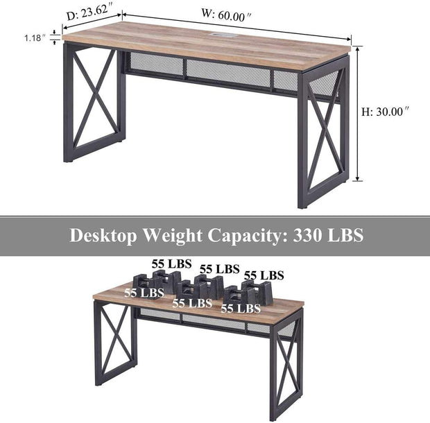 Industrial Office Computer Desk, Wood and Metal Writing Gaming Desk, Workstation Desk for Home Office