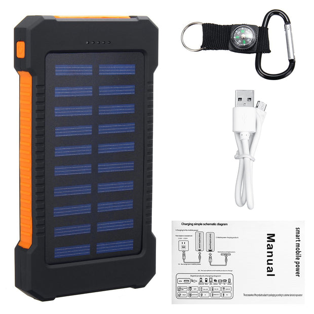 Waterproof 8000 mAh Portable Solar Powered Charger For Phones, Laptops, and Other Personal Electronics