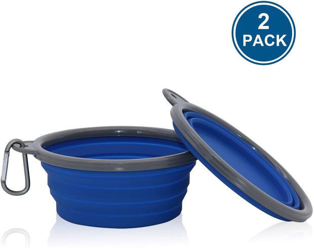 Travel Pet Bowls 2 Pack Collapsible Dog Bowl