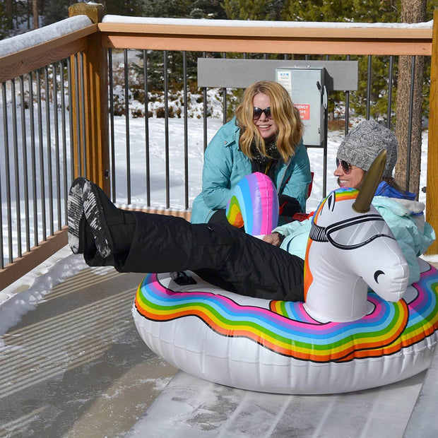 Unicorn Snow Tube, Inflatable Sled for Kids and Adults