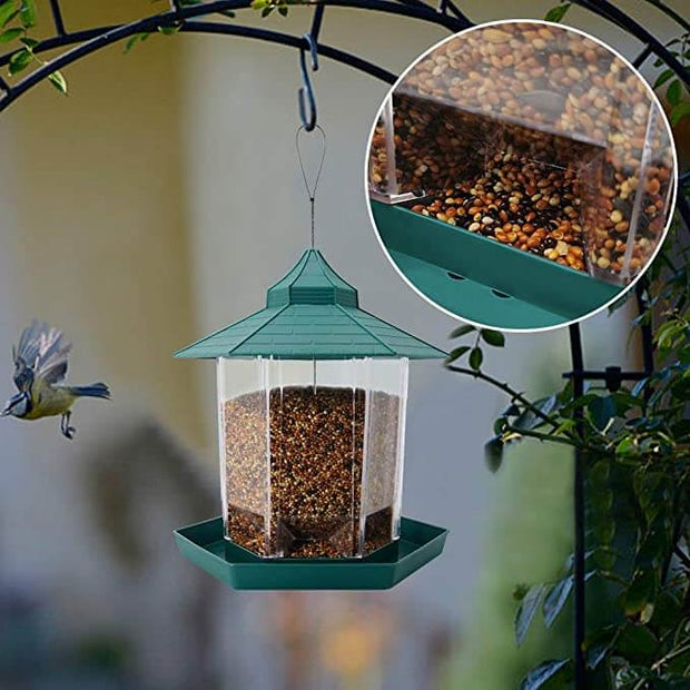 Bird Feeder, Hanging Panorama Bird Feeder for Garden Yard outdoors