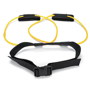 The Yellow 10 pound Tone-Lft™ X5 Resistance Training Band Laid Out Showing How The Product Wraps Around Your Waist.  | A BuySpotUSA.com Exercise & Fitness Product