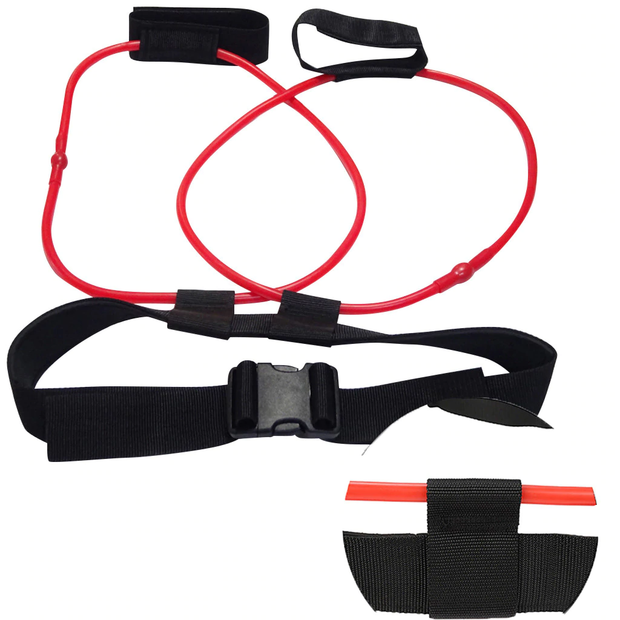The Red 20 pound Tone-Lft™ X5 Resistance Training Band Laid Out Showing How The Product Wraps Around Your Waist and a close up of the material.  | A BuySpotUSA.com Exercise & Fitness Product