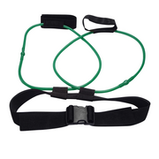 The Red 30 pound Tone-Lft™ X5 Resistance Training Band Laid Out Showing How The Product Wraps Around Your Waist.  | A BuySpotUSA.com Exercise & Fitness Product