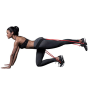 A Demonstration Of A Woman Performing A Workout With The Tone-Lft™ X5 Resistance Training Bands. | A BuySpotUSA.com Exercise & Fitness Product