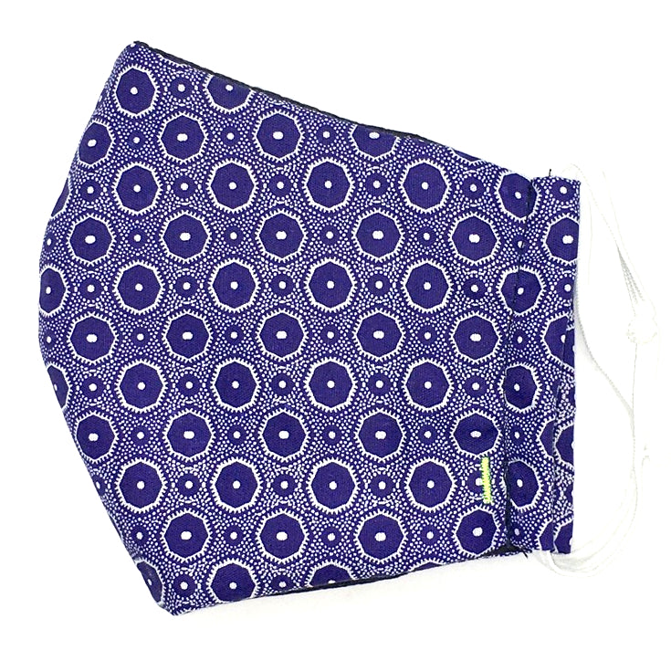 Blue and White Circle Dots Barrier Mask