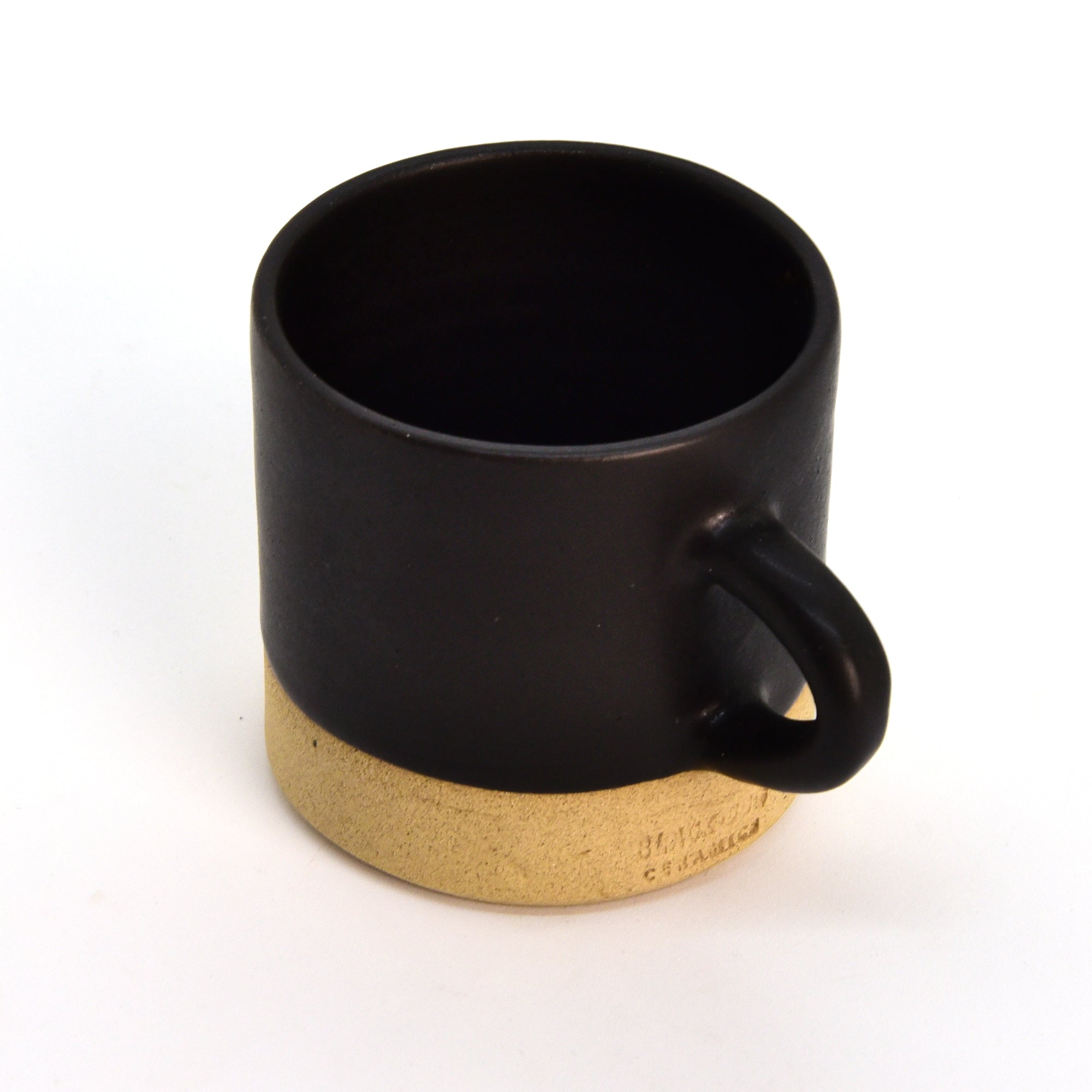 Ceramic Cup / Mug - Straight - Sand + Black