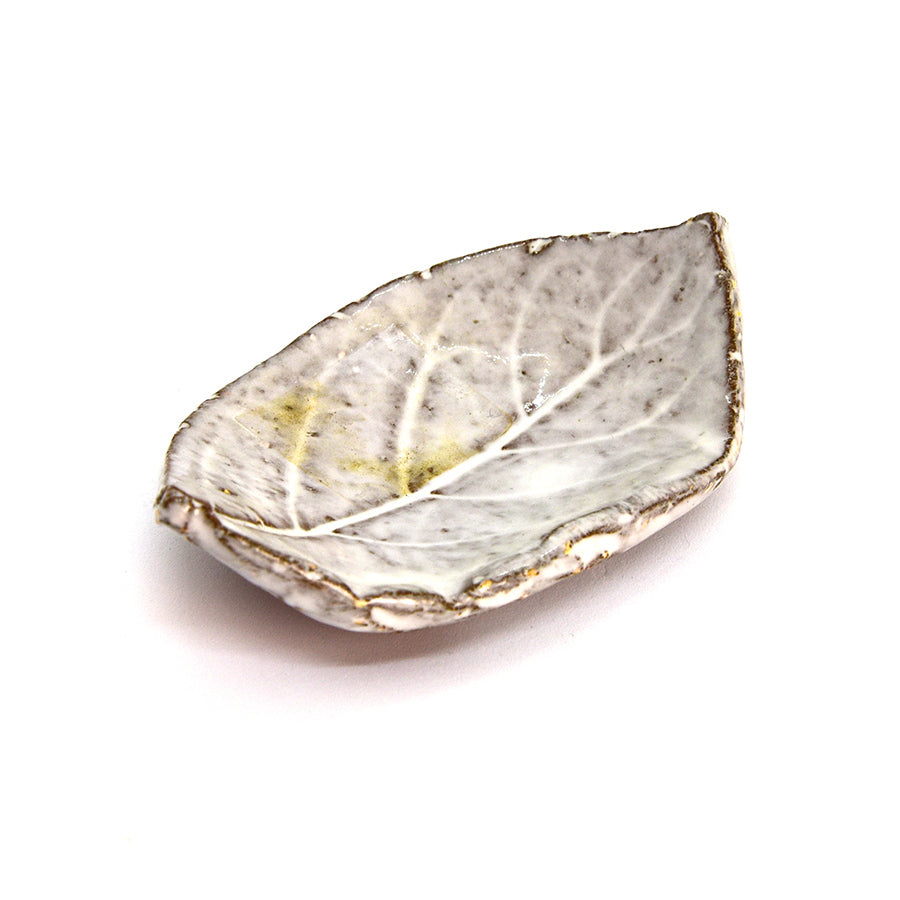 Raku Leaf - Chalk Large