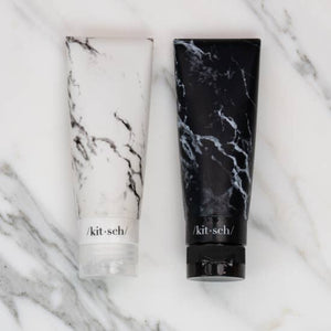 Refillable Silicone Bottle 2PC Set - Black & White Marble