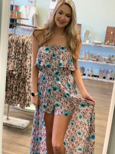 Strapless Floral Maxi Romper