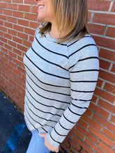 Load image into Gallery viewer, Stripe Long Sleeve Round Hem Top