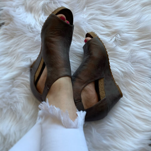 Sunburst Bronze Metallic Wedges