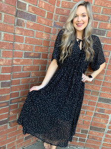 Printed Black Midi Dress