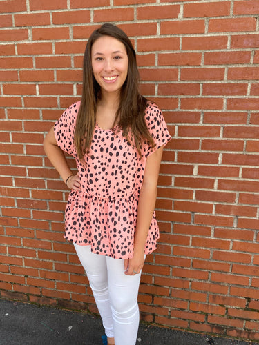 Peppy Peplum Animal Print Top