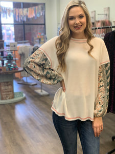 Ivory Waffle Top with Floral Sleeves