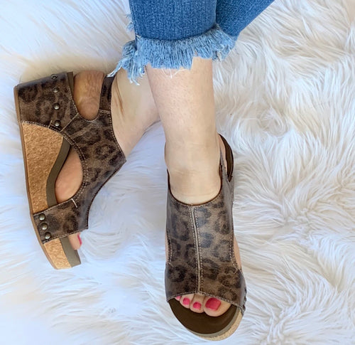 Carley Leopard Wedges