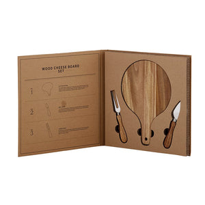 Cardboard Book Set - Wood Cheese Set