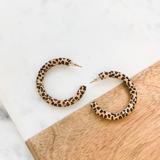 Leopard Wood Hoops