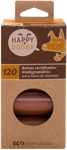 120 Bolsas Certificadas Compostables Biodegradables para Heces de Mascota HappyDoggy