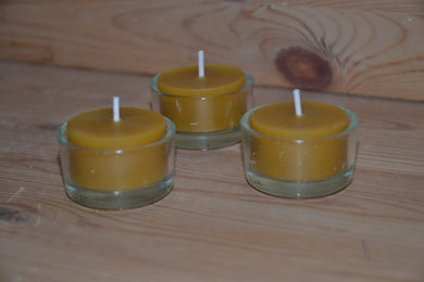 Beeswax candle with glass holder- handcrafted 1 pcs