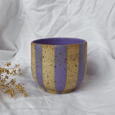 Coffee Cup Cubby - striped lavender