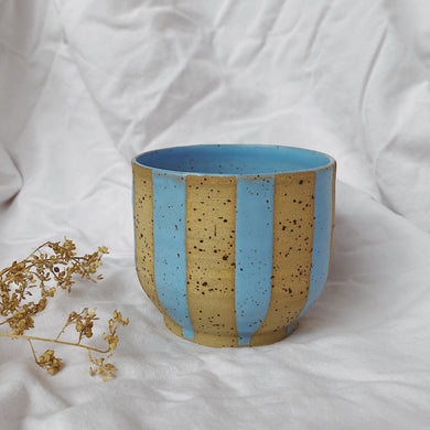Coffee Cup Cubby - striped turquoise