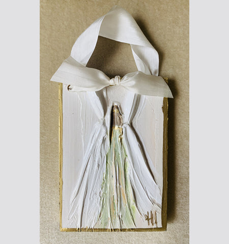 "Angel Hanger with Silk Ribbon (5.25"" x 3.5"" x .5"")"