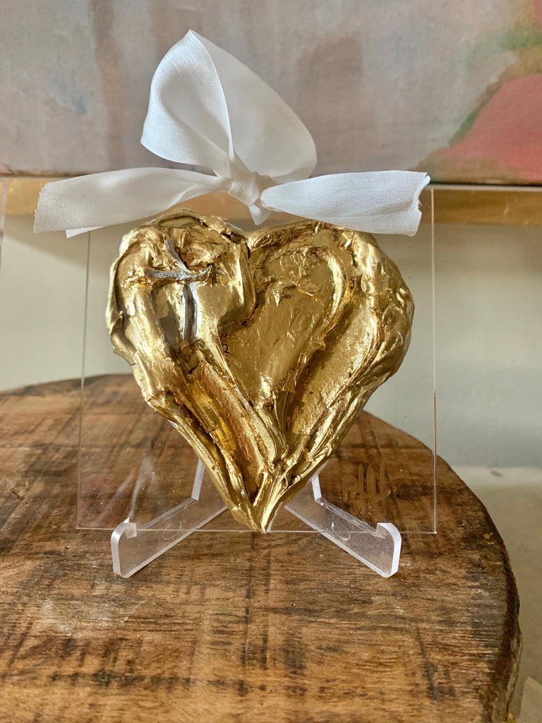 Acrylic Gold-Leafed Heart Hanger