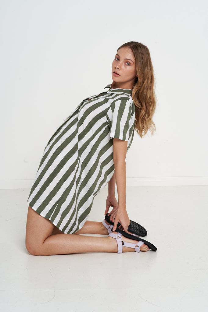 Montreal Dress - Olive Bold Stripe