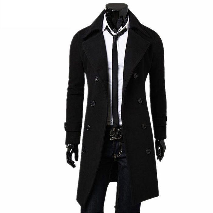 Men's Luxo Long Slim Wool Trench Coat