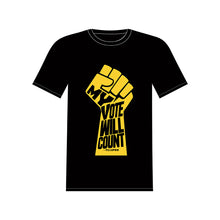 "Load image into Gallery viewer, ""MY VOTE WILL COUNT"" BLACK T-SHIRT"