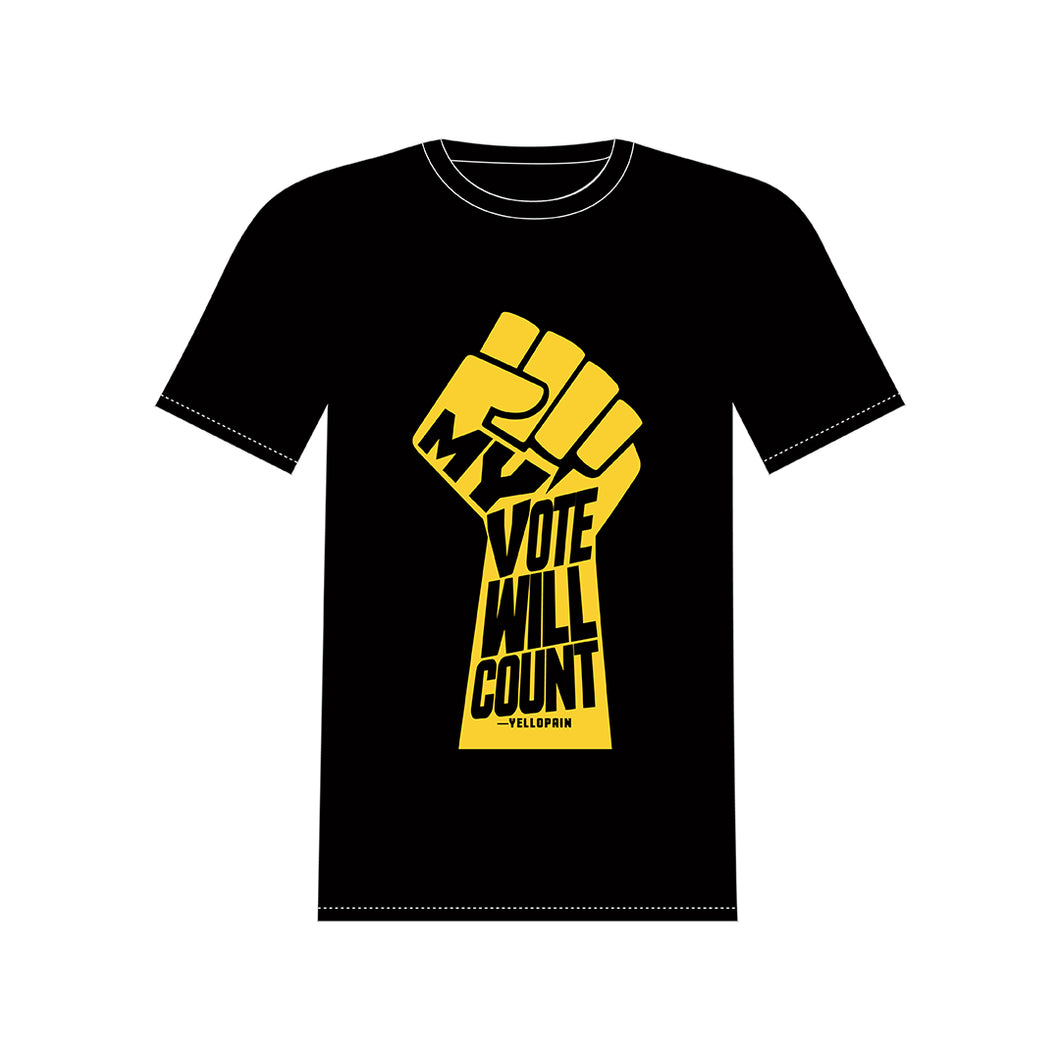 """MY VOTE WILL COUNT"" BLACK T-SHIRT"