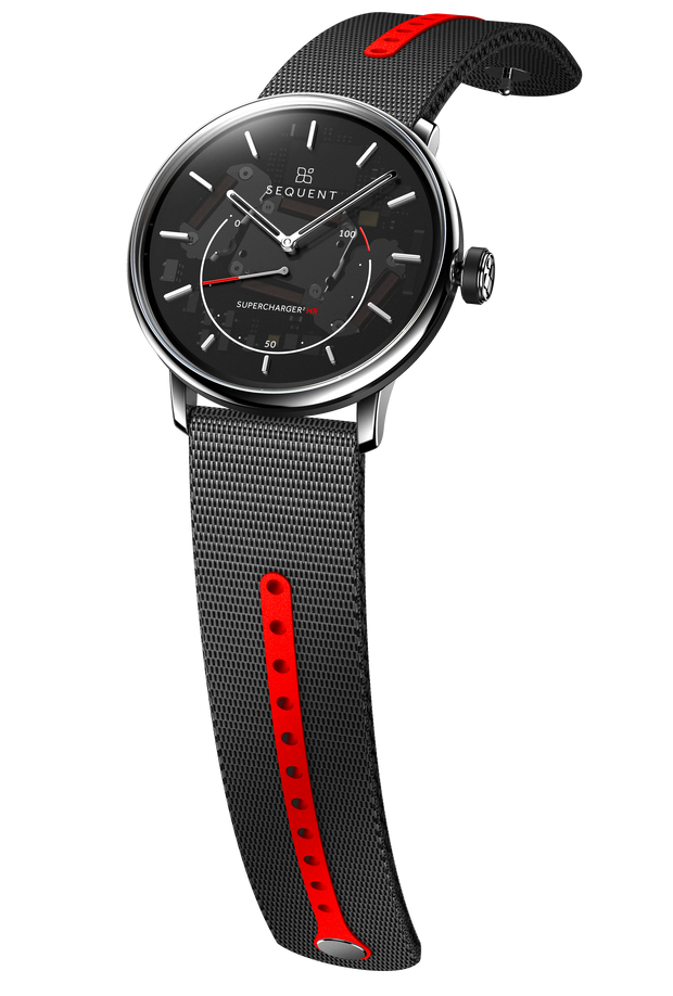 Steel HR - no coating - Black ring - Transparent dial - Ocean black red