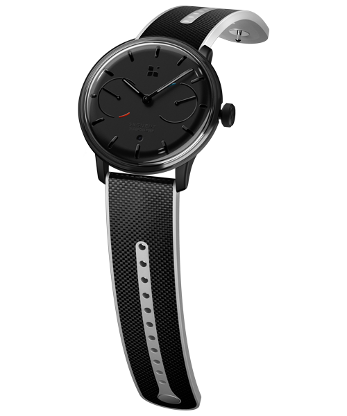 SEQUENT, self-charging hybrid smartwatch, SuperCharger Black Edition, black dial, black Hi-Tech Cordura strap