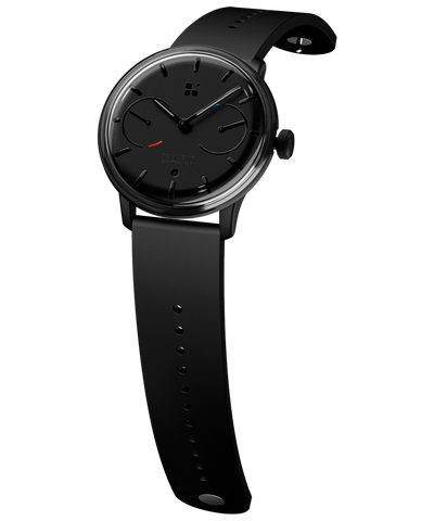 SEQUENT, self-charging hybrid smartwatch, SuperCharger Black Edition, black dial, black FKM rubber strap