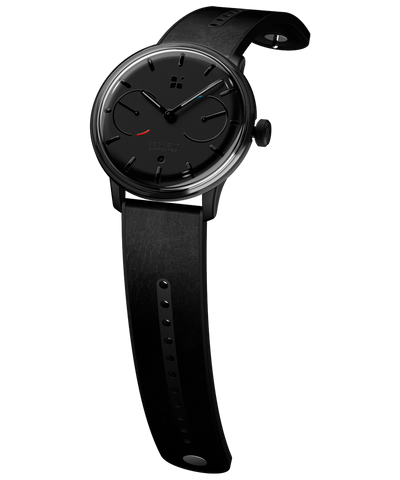 SEQUENT, self-charging hybrid smartwatch, SuperCharger Black Edition, black dial, black leather strap