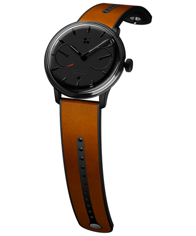 SEQUENT, self-charging hybrid smartwatch, SuperCharger Black Edition, black dial, brown leather strap