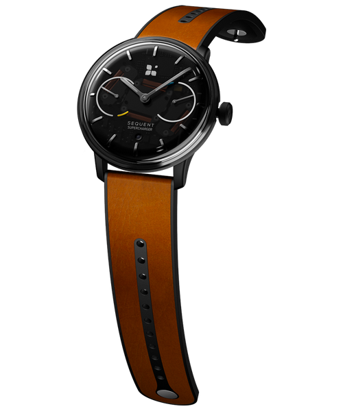 SEQUENT, self-charging hybrid smartwatch, SuperCharger Black Edition, transparent dial, brown Horween leather strap