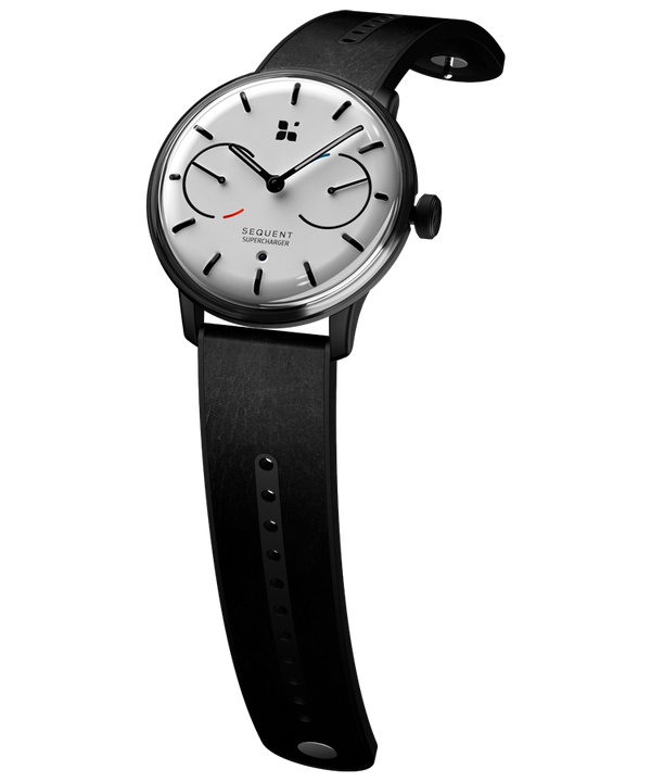 SEQUENT, self-charging hybrid smartwatch, SuperCharger Black Edition, white dial, black Horween leather strap