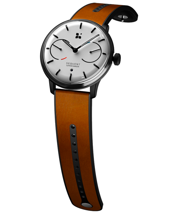 SEQUENT, self-charging hybrid smartwatch, SuperCharger Black Edition, white dial, brown Horween leather strap