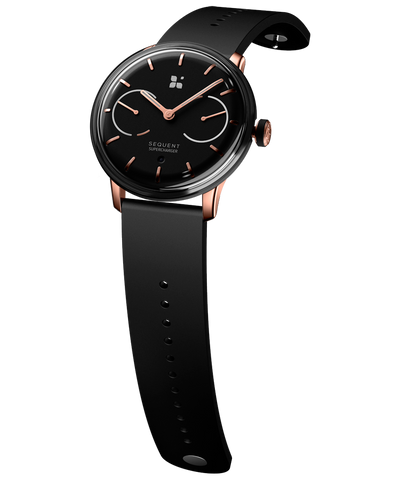 SEQUENT, self-charging hybrid smartwatch, SuperCharger Rose Gold Edition, black dial, black FKM rubber strap